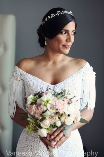 Bride with wedding bouquets