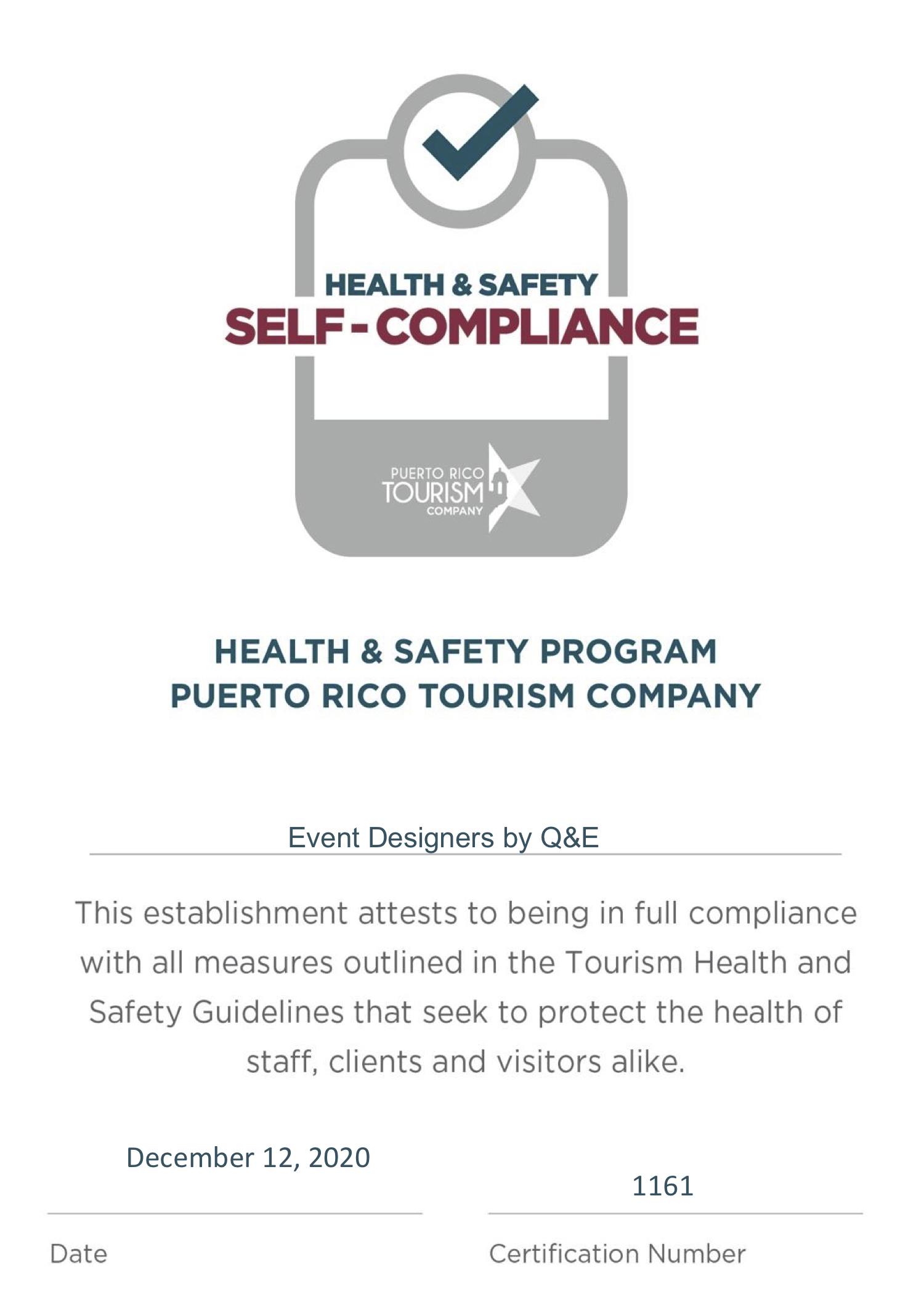Auto Certificate - Health Safety Program - Puerto RIco Tourism Company